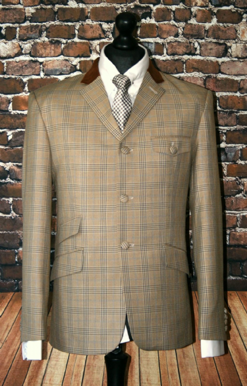"""Ralph"" Beige Pow Check With Beige Velvet Collar"
